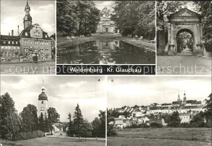 Waldenburg Sachsen Rathaus Gruenefelder Park Kirche Kat. Waldenburg Sachsen