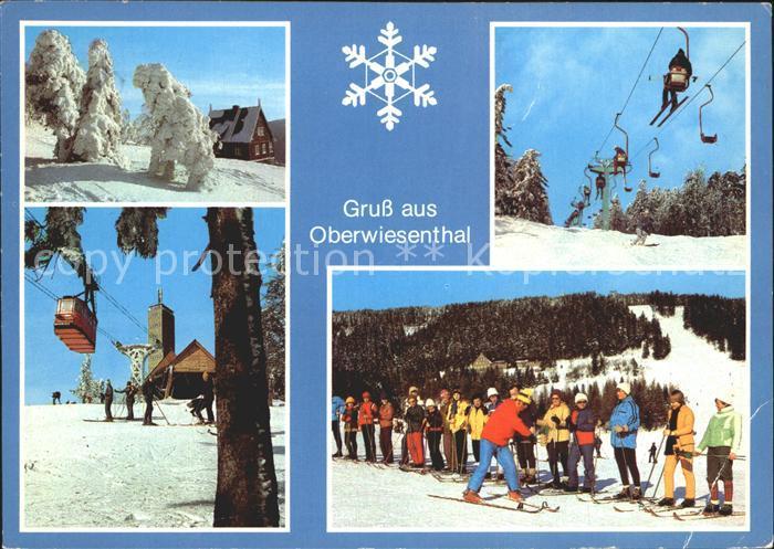 Oberwiesenthal Erzgebirge Winteridyll Fichtelberg Schwebebahn Aussichtsturm Sessellift Skikurs Kat. Oberwiesenthal