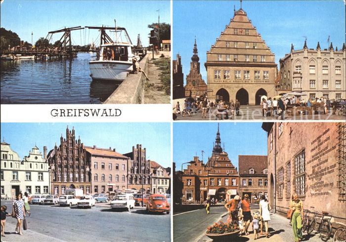 Greifswald Mecklenburg Vorpommern Wiecker Bruecke Rathaus PdF Markt Kat. Greifswald