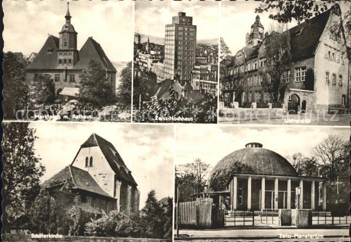 Jena Marktplatz Rathaus Zeiss Hochhaus Universitaet Schillerkirche Zeiss Planetarium Kat. Jena