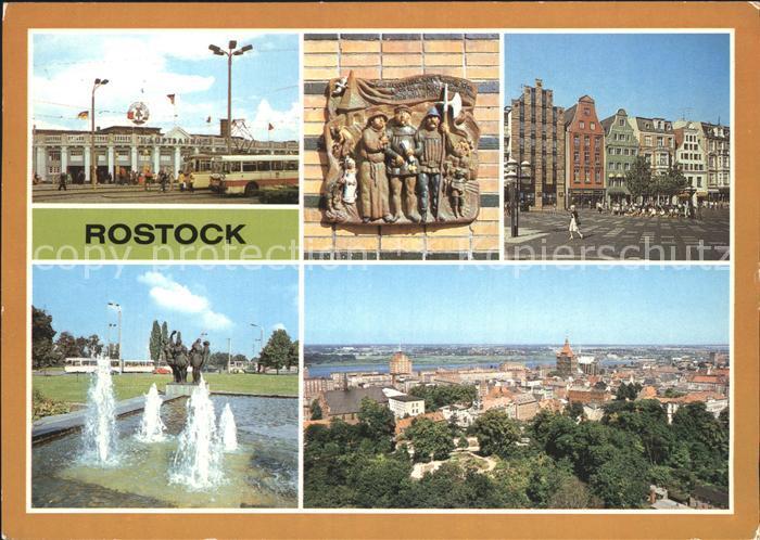 Rostock Mecklenburg Vorpommern Hauptbahnhof Terrakotta am Giebelhaus Breite Str Cafe Rostock Wasserspiele Hotel Warnow Stadtzentrum Kat. Rostock