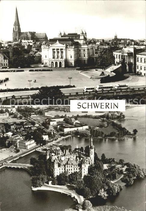 Schwerin Mecklenburg Staatstheater Musum und Dom Schloss Fliegeraufnahme Kat. Schwerin
