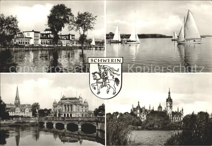 Schwerin Mecklenburg HOG Seglerheim Schweriner See Staatstheater Dom und Schloss Kat. Schwerin