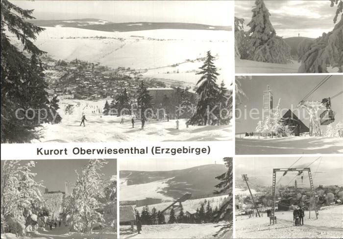 Oberwiesenthal Erzgebirge Panorama Winteridyll Fichtelberghaus Schwebebahn Sprungschanze Schlepplift Kat. Oberwiesenthal