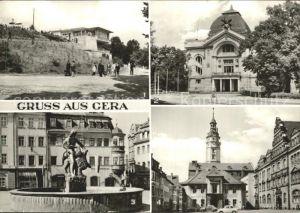 Gera Simsonbrunnen Theater Rathaus am Kornmarkt  Kat. Gera
