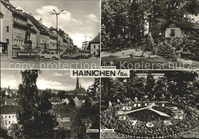 Hainichen Sachsen Markt Stadtpark Blumenuhr Kat. Hainichen Sachsen