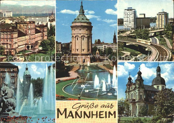Mannheim Schloss Wasserturm Hafen Friedrichsplatz Jesuitenkirche Kat. Mannheim