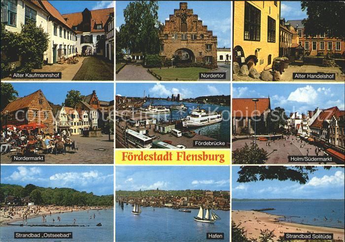 Flensburg Alter Handelshof Alter Kaufmannshof Holm Suedermarkt Hafen  Kat. Flensburg