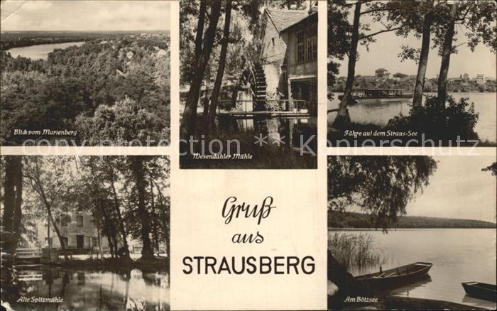 Strausberg Brandenburg Marienberg Wesendahler Muehle Faehre Strauss See Alte Spitzmuehle Am Boetzsee Kat. Strausberg