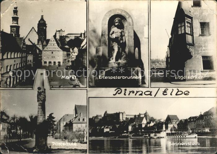 Pirna Markt Erlenpeterbrunnen Engelserker Postsaeule Sonnenstein Kat. Pirna