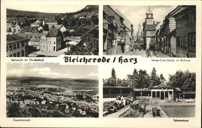 Bleicherode Teilansicht mit Windelskopf Maxim Gorki Strasse Rathaus Schwimmbad Kat. Bleicherode
