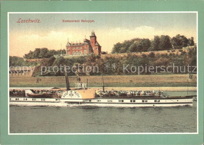 Loschwitz Restaurant Saloppe Raddampfer Graf Moltke Kat. Dresden