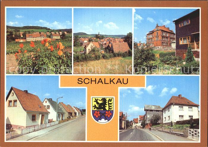 Schalkau Siedlung im Grund Teilansicht Polytech Oberschule Karl Marx Siedlung Bahnhofstr Kat. Schalkau