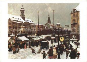 Dresden Striezelmarkt auf dem Neustaedter Markt um 1900 oelgemaelde Kat. Dresden Elbe