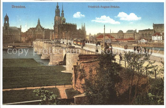 Dresden Friedrich August Bruecke Kat. Dresden Elbe