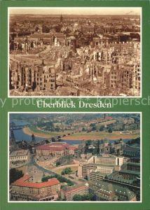 Dresden 1949 und heute Blick vom Rathausturm mit Neumarkt und Frauenkirche Kat. Dresden Elbe