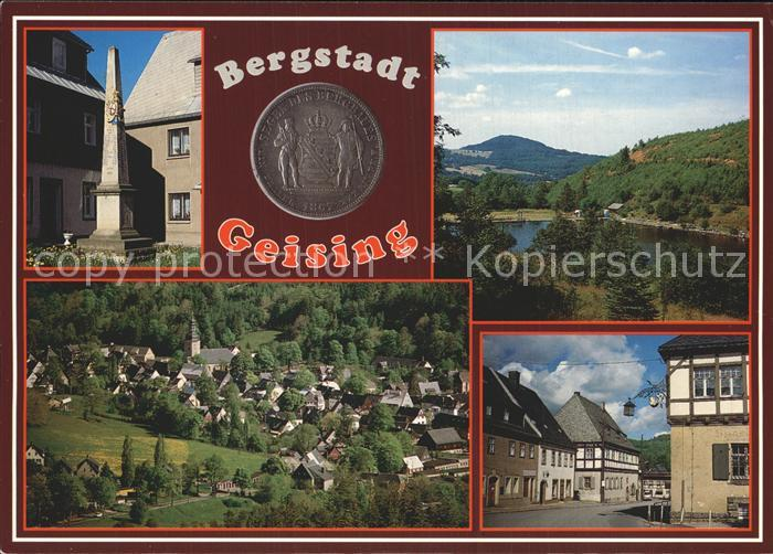 Geising Erzgebirge Postmeilensaeule Freibad mit Geisingberg Ortszentrum Rathaus Kat. Geising Osterzgebirge