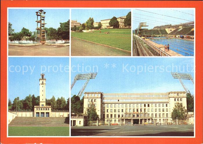 Leipzig Sportforum Dt Hochschule fuer Koerperkultur Schwimmstadion Werner Seelenbinder Turm Sportmuseum Kat. Leipzig