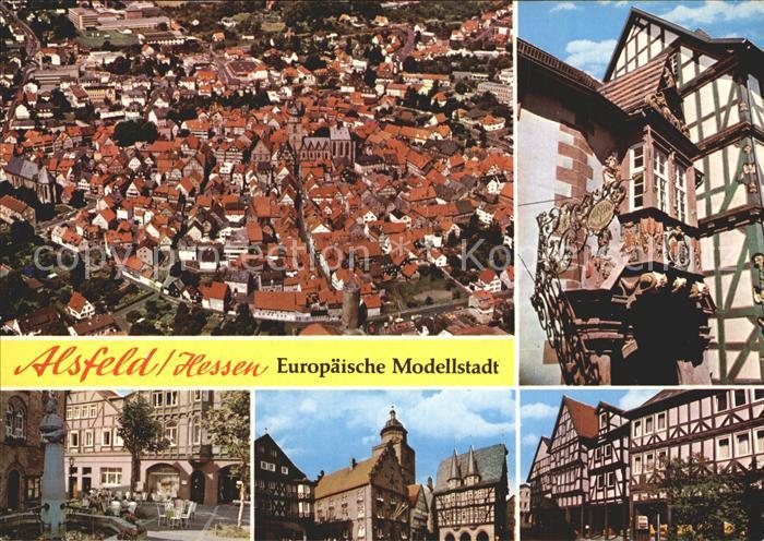 Alsfeld Altstadt Fachwerkhaeuser Erker Fliegeraufnahme Kat. Alsfeld