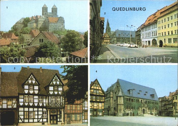 Quedlinburg Blick vom Muenzenberg Schloss Markt Klopstockhaus Fachwerkhaus Rathaus Kat. Quedlinburg