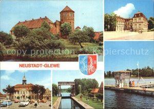 Neustadt Glewe Burg Schloss Rathaus Schleuse Volksbad am See Kat. Neustadt Glewe
