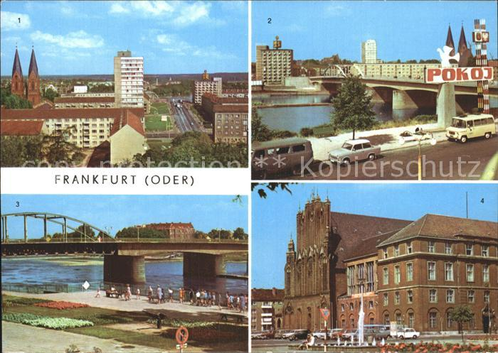 Frankfurt Oder Blick vom Hochhaus Polnisches Ufer Bruecke der Freundschaft Rathaus Kat. Frankfurt Oder