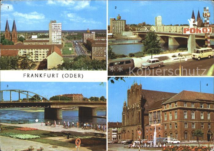 Frankfurt Oder Blick vom Hochhaus Polnischen Ufer Rathaus Bruecke der Freundschaft Kat. Frankfurt Oder
