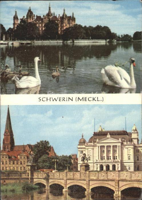 Schwerin Mecklenburg Burgsee mit Schloss Staatstheater und Dom Kat. Schwerin