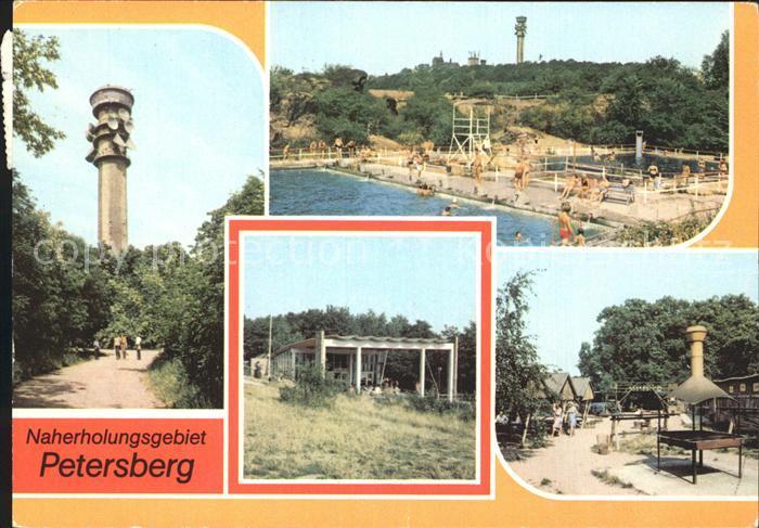 Petersberg Halle Fernsehturm Bergbad Pavillon  Kat. Petersberg Halle