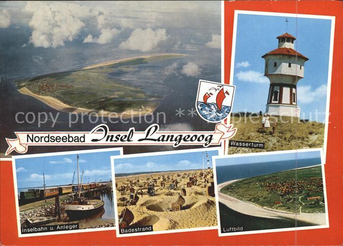 Langeoog Nordseebad Badestrand Wasserturm Inselbahn Kat. Langeoog