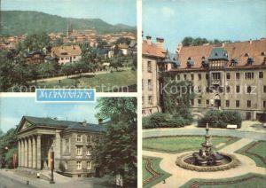 Meiningen Thueringen uebersicht Theater Schlosshof mit Brunnen Kat. Meiningen