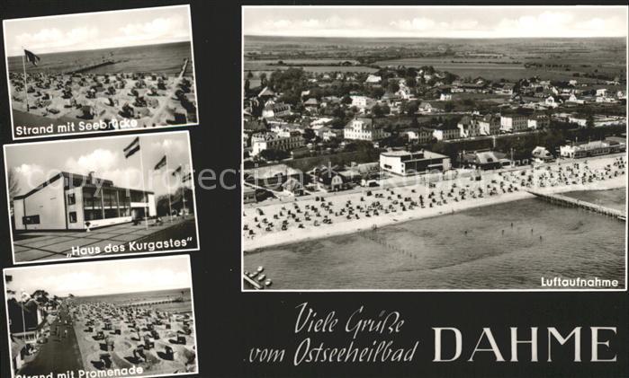 Dahme Ostseebad Fliegeraufnahme Strand mit Seebruecke Haus des Kurgastes Kat. Dahme