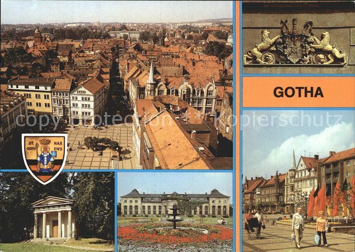 Gotha Thueringen Wappen am Rathaus Neumarkt Blick vom Turm der Magarethenkirche Kat. Gotha