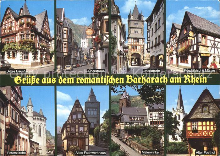Bacharach Rhein Altes Haus Oberstrasse Marktturm Kurpfaelzische Muenze Peterskirche Fachwerkhaus Malerwinkel Alter Posthof Kat. Bacharach