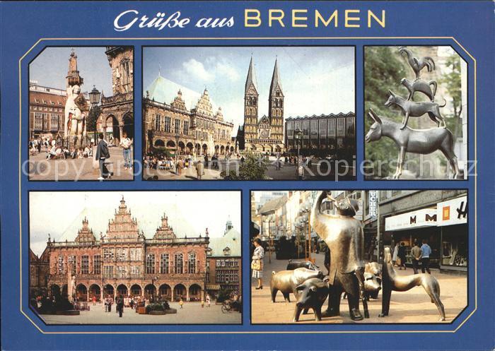 Bremen Stadtmusikanten Rathaus Roland  Kat. Bremen