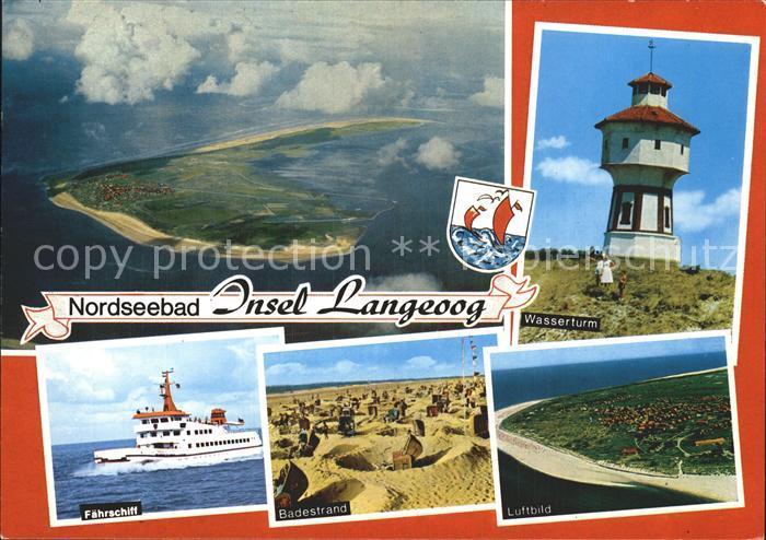 Langeoog Nordseebad Faehrschiff Wasserturm Luftbild Badestrand Kat. Langeoog