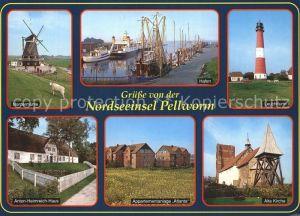 Pellworm Leuchtturm alte Kirche Nordermuehle Kat. Pellworm