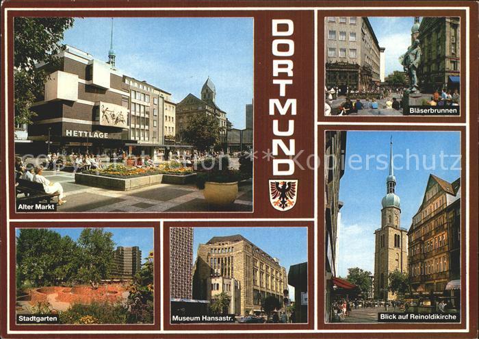 Ak ansichtskarte dortmund westfalenhalle blaeserbrunnen reinoldikirche hauptbahnhof union - Stadtgarten dortmund ...
