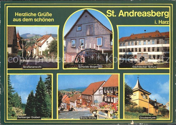 St Andreasberg Harz Schwibb Bogen Dachdecker Schule Glockenturm Kat. Sankt Andreasberg