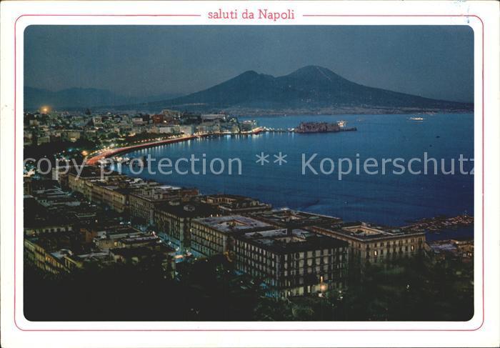 Napoli Neapel Panorama bei Nacht Panorama notturno Kat. Napoli
