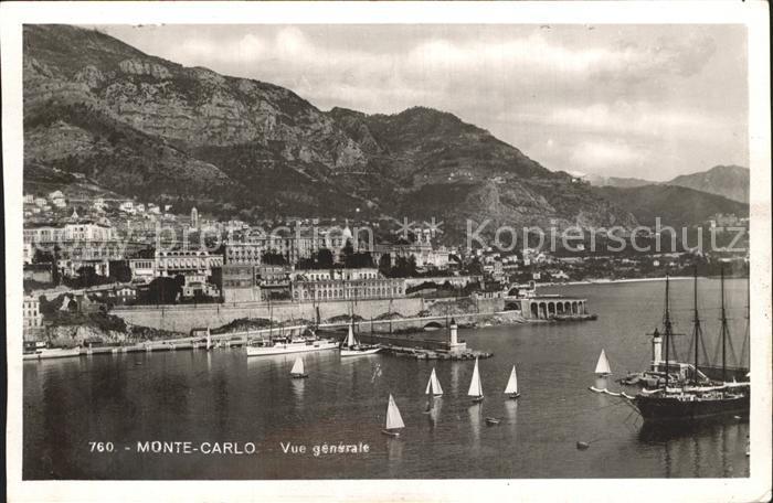 Monte Carlo Vue generale de la Principaute Port Bateau Kat. Monte Carlo