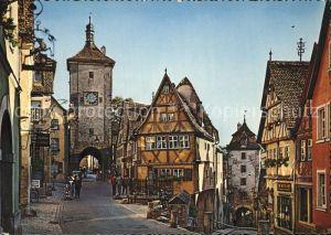 Rothenburg Tauber Partie am Ploenlein Torbogen Fachwerkhaeuser Altstadt Kat. Rothenburg ob der Tauber