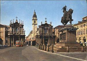 Torino Piazza San Carlo Monumento ad E Filiberto Chiese di S Cristina e S Carlo Kat. Torino