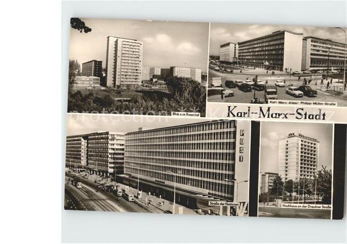 Karl Marx Stadt Rosenhof Karl Marx Allee Strasse der Nationen Hochhaus Dresdner Strasse Kat. Chemnitz
