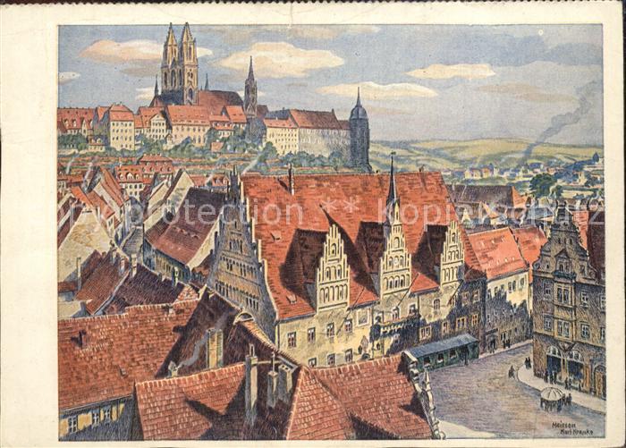 Meissen Elbe Sachsen Stadtansicht mit Burgberg Albrechtsburg Dom Karl Kranke Kuenstlerkarte Kat. Meissen
