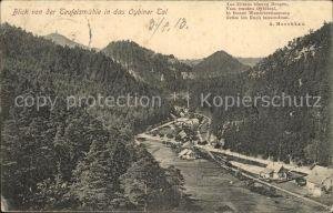 Oybin Blick von der Teufelsmuehle ins Oybiner Tal Zittauer Gebirge Gedicht Moschkau Kat. Kurort Oybin