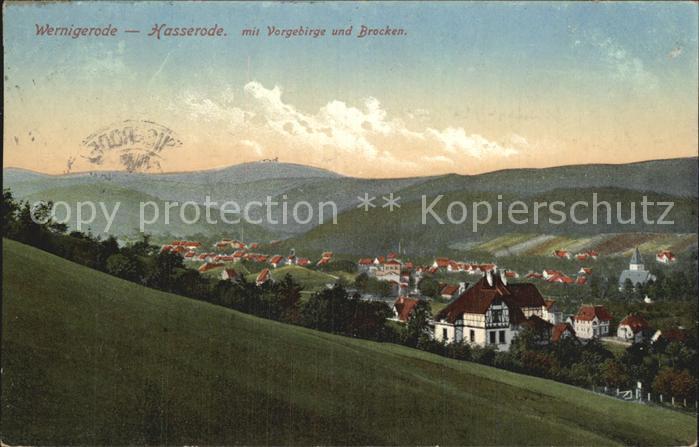 Hasserode Panorama mit Vorgebirge und Brocken Kat. Wernigerode