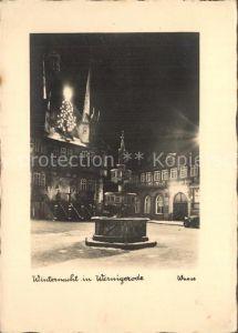 Wernigerode Harz Winternacht Marktplatz Brunnen Rathaus Kat. Wernigerode