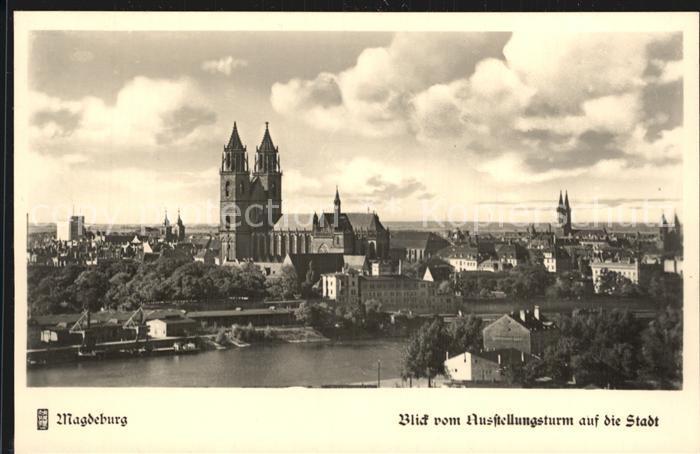 Magdeburg Blick vom Ausstellungsturm auf die Stadt Kat. Magdeburg