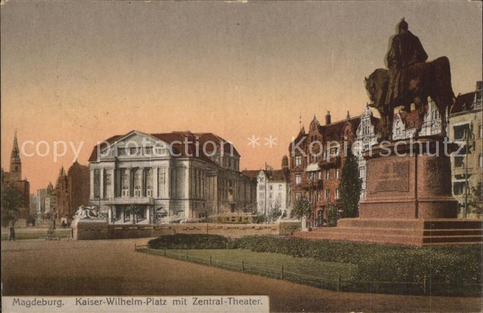 62057944 Magdeburg Kaiser Wilhelm-Platz Zentral-Theater Kaiser Wilhelm-Platz Zentral-Theater Alte Ansichtskarte Postkarte